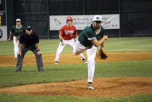 Stephen Schoch (UMBC) pitches against the Baltimore Redbirds. Photo by Allison Druhan